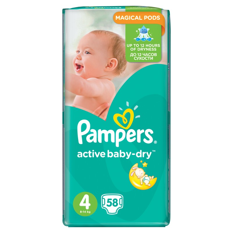 Pampers Active baby-dry No 4 (8-14kg) 58τμχ