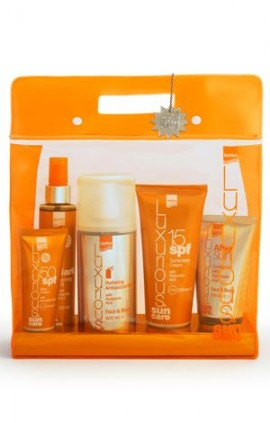 Intermed Luxurious Sun Care Low Protection Pack - Face Cream spf50 75ml, Sunscreen Cream spf15 200ml, Dark Tanning Oil με βιταμίνες Α & Ε 200ml, After Sun Cooling Gel Face & Body 150ml, Hydrating Antioxidant Mist Face & Body 400ml