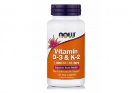 Now Vitamin D-3 & K-2 120 Veg. Caps