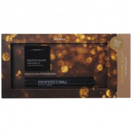 Korres Sparkling Beauty The Gold Eye Set Volcanic Minerals Mascara 01 Μαύρο 8ml + Festive Glow Minerals Eyeshadow Χρυσή 1.5g